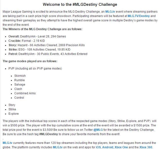 Destiny Challenge