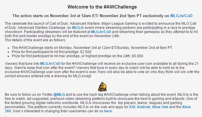 cod challenge
